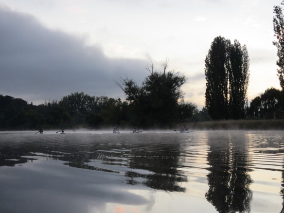 Misty morning kayakers from the BGCC burning up the Molonglo River