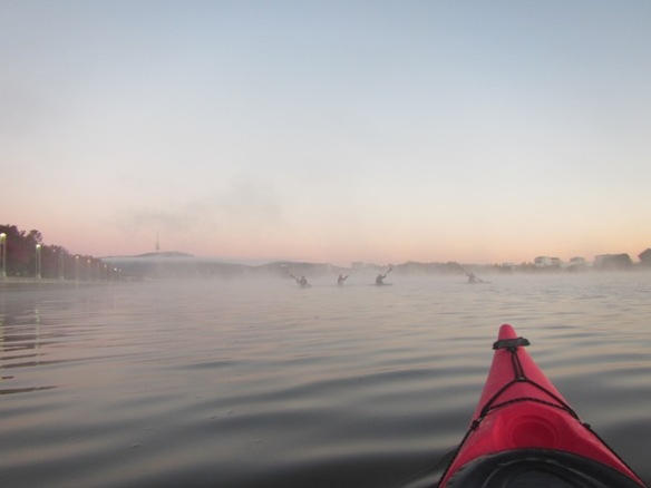 6.28am: The Mist Busters from Burley Griffin Canoe Club