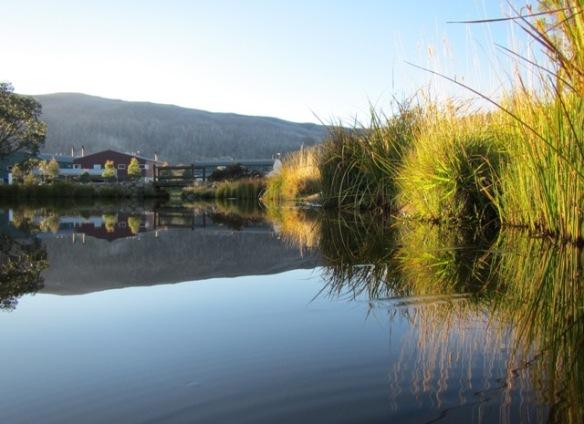Mirror reflections at Lake Crackenback Resort