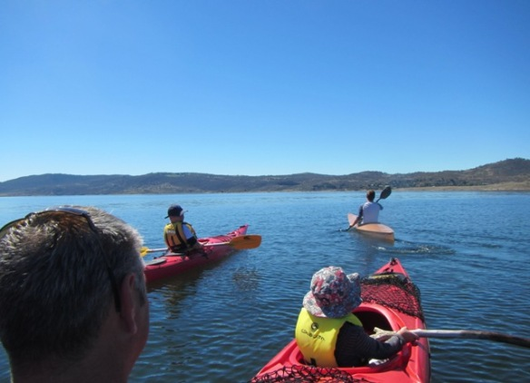 I loved cruising around on Lake Jindabyne with my three boys.