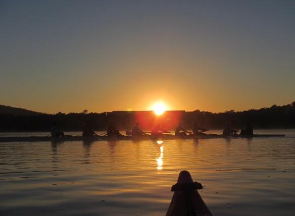 6.59am; Slicing through the sunrise.