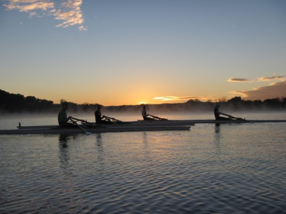 The Australian girls junior sculls rowing team were out on a crispy Canberra morning going through their paces.