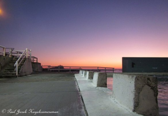 6.24am: Pastel dawn view from the Newcastle Ocean Baths.