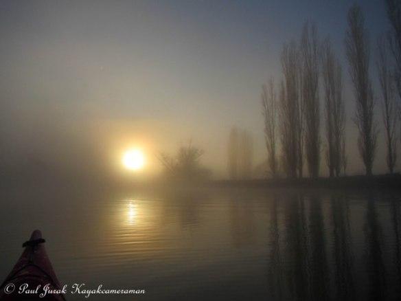 Burning through the morning mist.