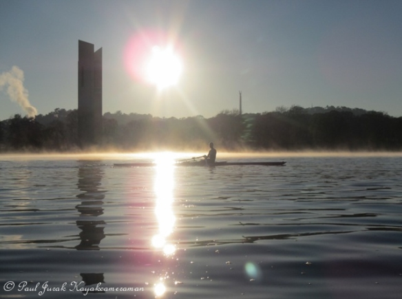 Sculling through the sunrise