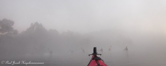 Then from out of the mist burst the crew from the 'Burley Griffin Canoe Club'