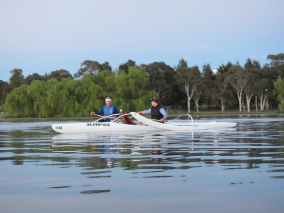 Simon and Bron ...The Outriggers always look good on the water.