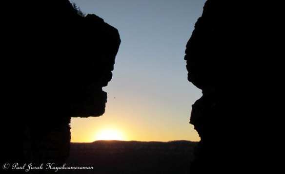 If only they could talk, imagine the stories they could tell.   Sunset between two of Three Sisters - Katoomba.