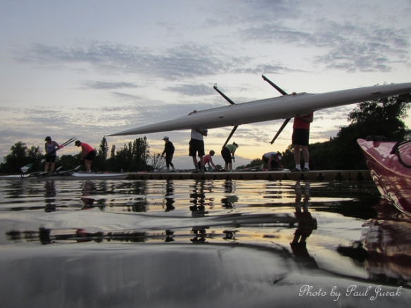 The scullers were getting ready for an early start as well.