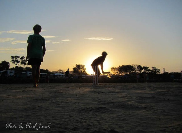 Nothing better than a game of beach cricket to finish off the day.