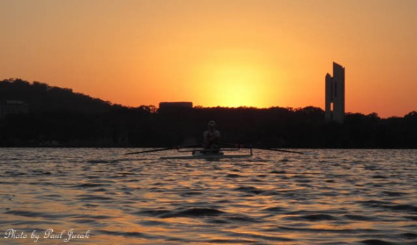 Sculling into a gorgeous sunrise