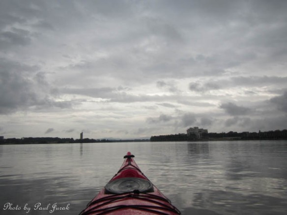Paddling into a see of grey swirls