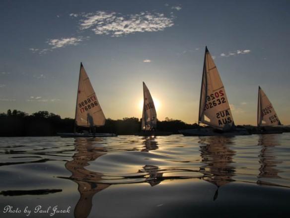 Silhouette Skiffs drifting on LBG
