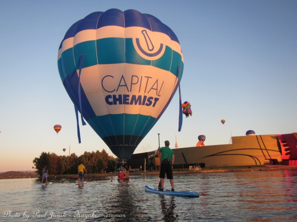 The Capital Chemist balloon piloted by Justin was a huge draw card on the water.