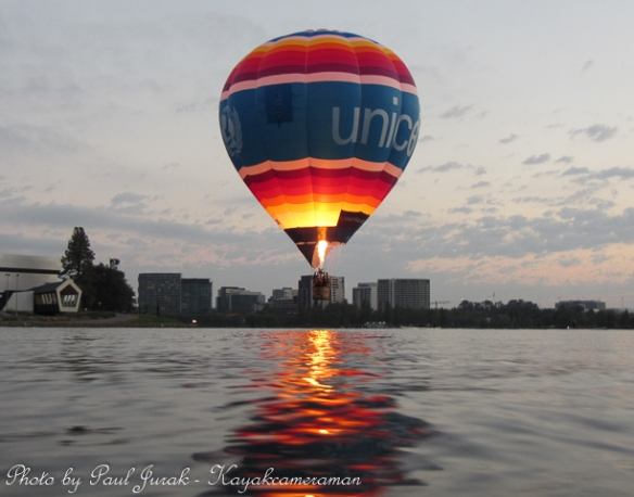 The Unicef balloon always loves getting down close to the water.