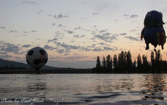 Even the soccer ball was down on the water for a bit of action this morning as well.