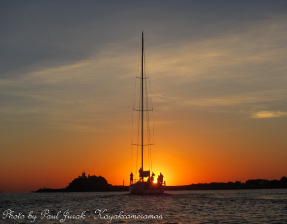 Sailing into a glorious sunrise on Newcastle Harbour