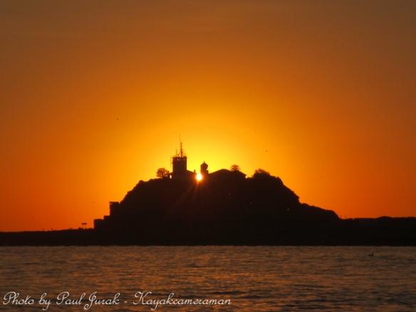 Nobbys Lighthouse light up in gold