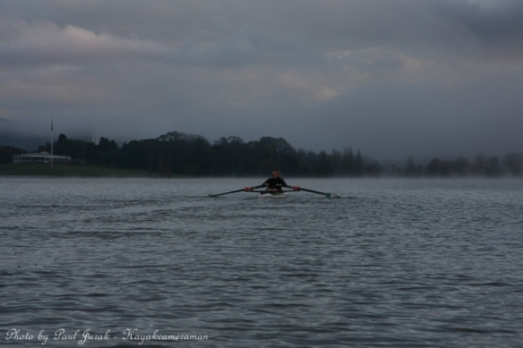 Slicing through the mist.