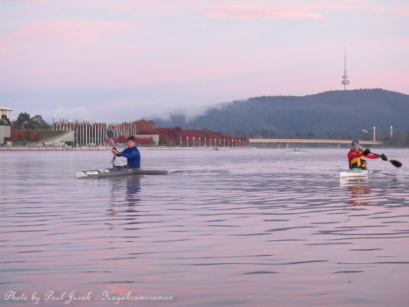 Here comes the guys from the Burley Griffin Canoe Club.