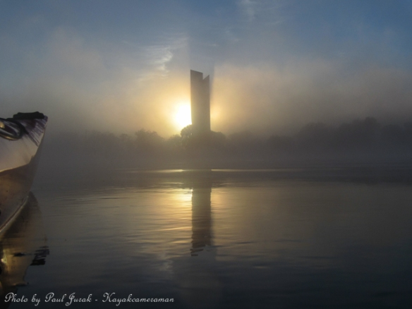 The National Carillon cloaked with fog